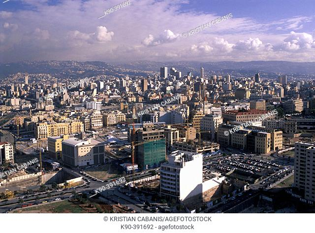 View of the modern side of Beirut with Mount Lebanon in the background, Beirut, Lebanon