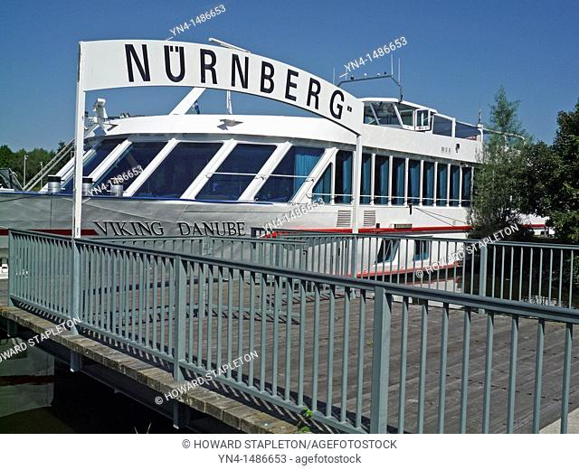 A river cruise ship at dock in Nuremberg, Germany