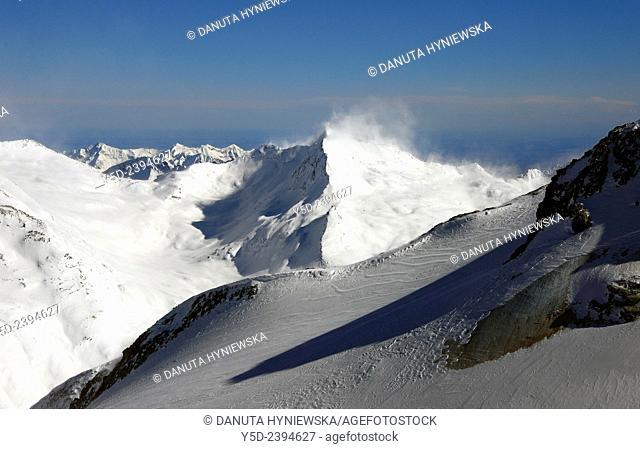 strong wind over Spechhorn 3189 m, seen from Mittelallalin 3500 m, Saas-Fee, Valais, Wallis, Switzerland