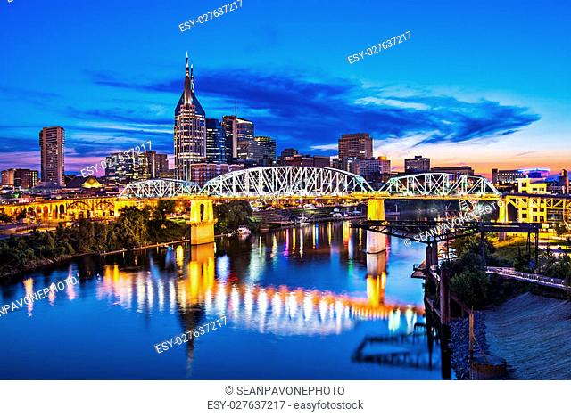Nashville, Tennessee downtown skyline at Shelby Street Bridge
