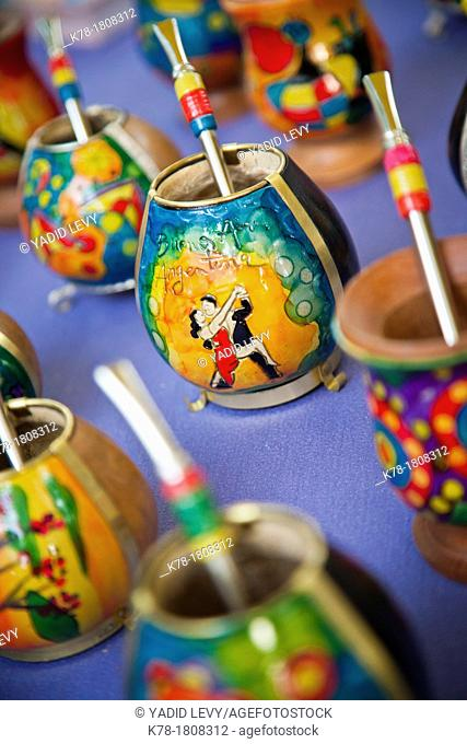 Mate cups at a market in Palermo Soho, Buenos Aires, Argentina