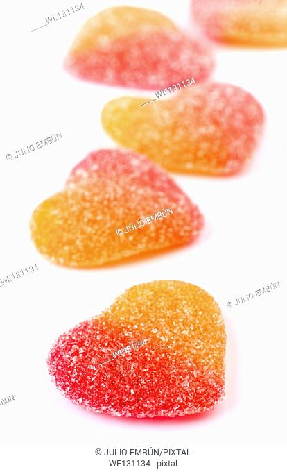 gummy heart shaped sugar coated
