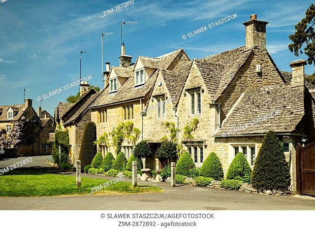 Spring afternoon at Lower Slaughter village in the Cotswolds, Gloucestershire, England