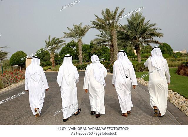 United Arab Emirates (UAE),Abu Dhabi, Sir Bani Yas island, five bearded men in white kandoura dishdash