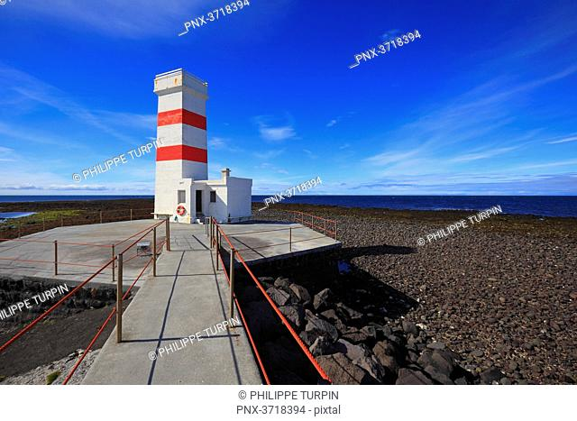 Iceland, Sudurnes, Gardur. Lighthouse