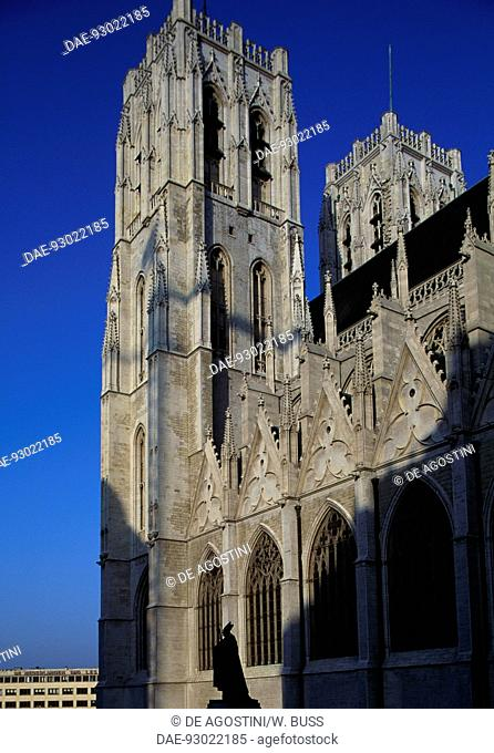 View of the Cathedral of St Michael and St Gudula, 13th-17th century, Brussels, Belgium
