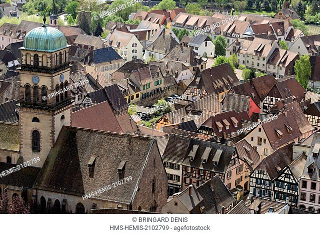 France, Haut-Rhin, Kaysersberg, village, Sainte Croix church from the castle dated 13th century