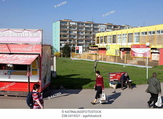 Low income apartment housing (Czech: panalaky) on the outskirts of Prague, Czech Republic, Europe