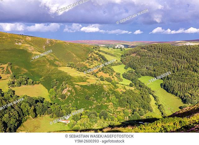 Maesyrychen Mountain seen from Horseshoe Pass, Llandegla, Denbighshire, Wales, United Kingdom, Europe