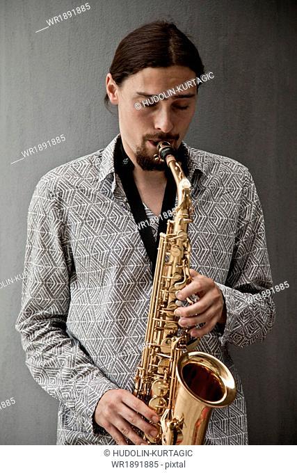 Man playing the saxophone, Osijek, Croatia