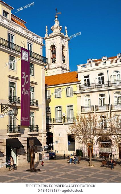 Largo de Sao Carlos square Chiado district central Lisbon Portugal Europe