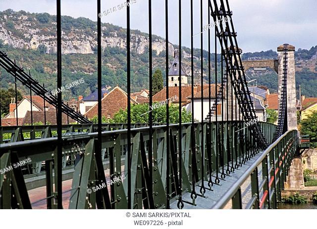 Bridge across a river in the village of Cajarc, Lot, France