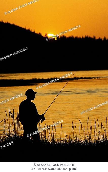 Fisherman Silhouette Resurrection Creek SC Alaska
