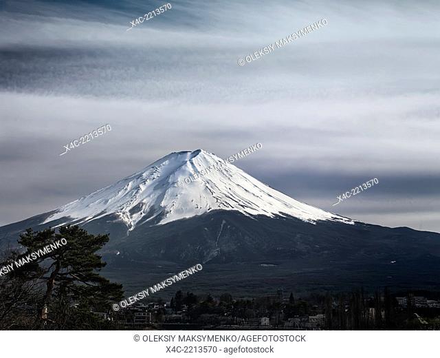 Mt. Fuji under dramatic sky. Fujikawaguchiko, Yamanashi, Japan