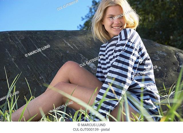 Young Woman in stripy shirt