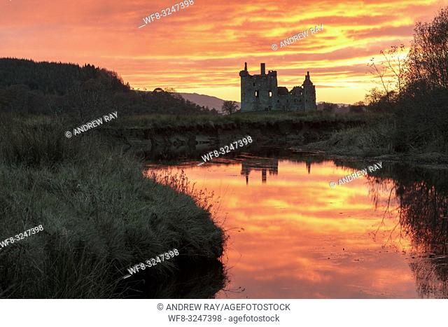 Kilchurn Castle and reflections captured at sunset