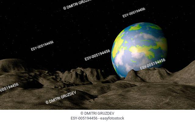 Alien planet in deep space