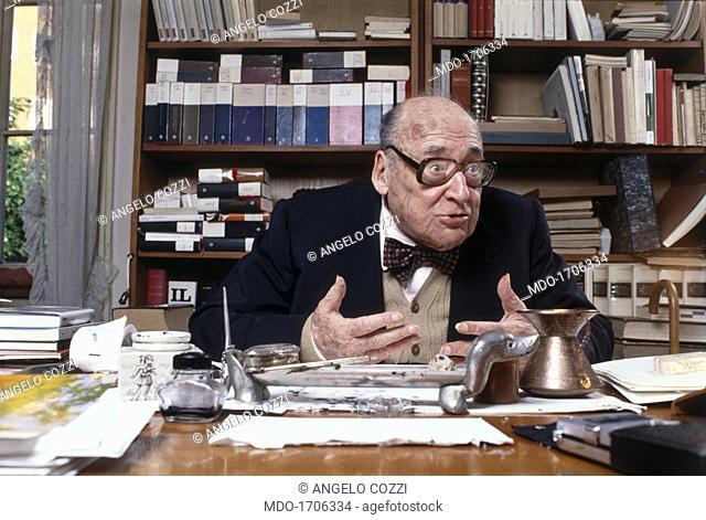 Portrait of Riccardo Bacchelli. Portait of the italian writer and dramatist Riccardo Bacchelli in his studio in Milan. Milan, Italy, 1981