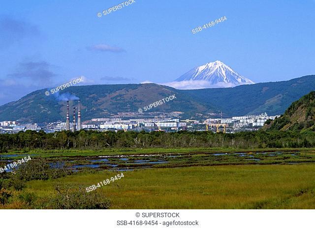 Russia, Kamchatka, Petropavlovsk, Koryak Volcano In Background