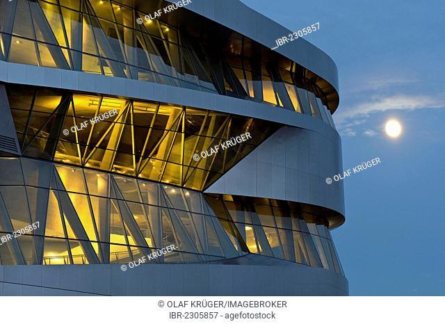 Moon, Mercedes-Benz Museum in the evening, illuminated, modern architecture, Daimler, Bad Cannstatt, Stuttgart, Baden-Wuerttemberg, Germany, Europe