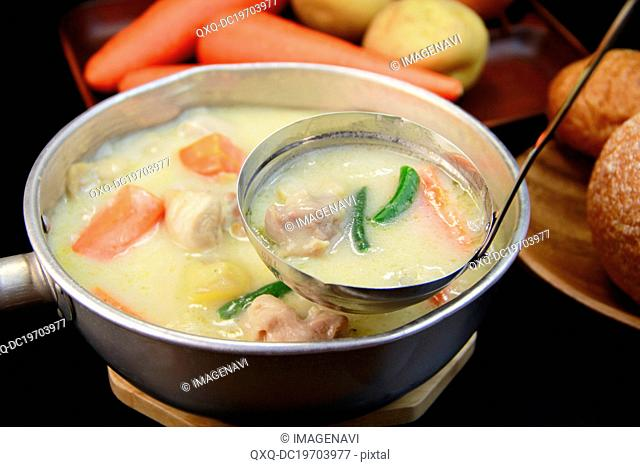 Vegetables creamy chowder in pot