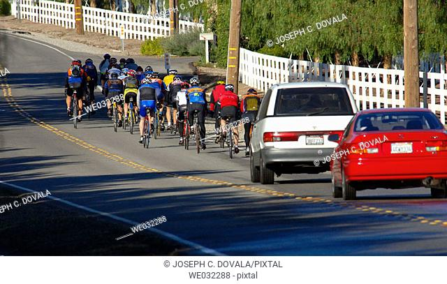 Large assemblage road bikes. Hidden Valley, California, USA