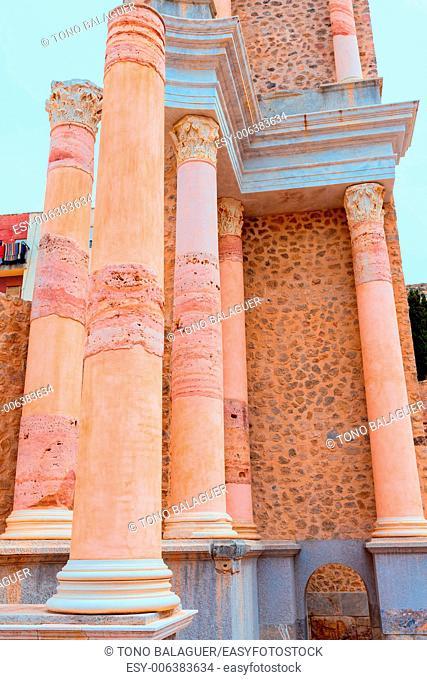 Ancient columns in Cartagena Roman Amphitheater at Murcia Spain