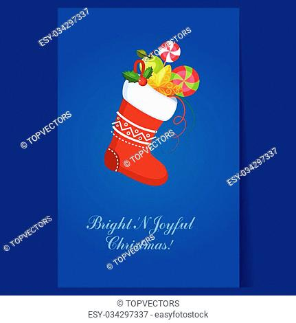 Christmas Socks with Presents. Winter Vector Illustration
