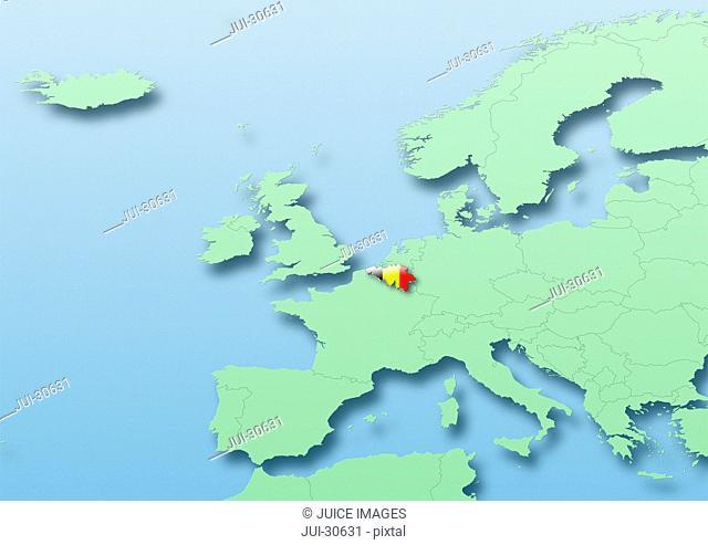 Belgium, flag, map, Western Europe, green, blue, political