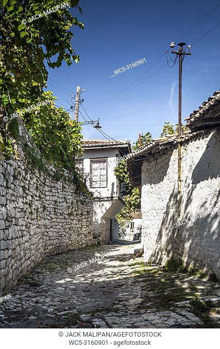 cobbled street in berat old town in albania