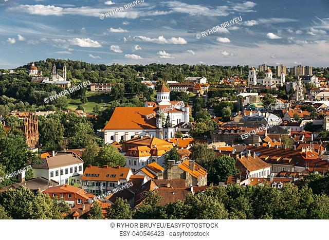 Vilnius, Lithuania. Church Of St Anne, Church Of Ascension, Church Of Sacred Heart Of Jesus, Cathedral Of Theotokos, Church Of St Johns, Church Of Holy Spirit