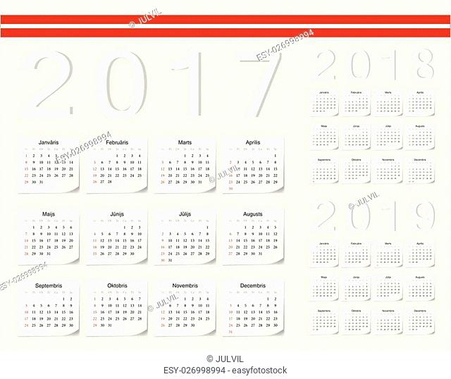 Set of Latvian 2017, 2018, 2019 vector calendars with shadow angles. Week starts from Sunday