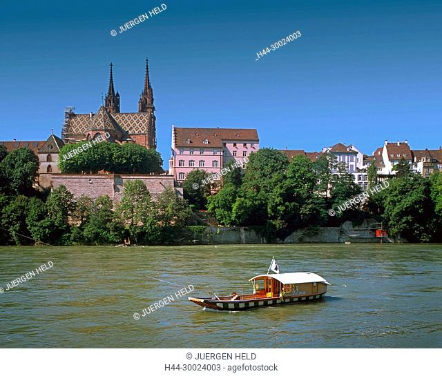switzerland, bale, rhine frerry, cathedral
