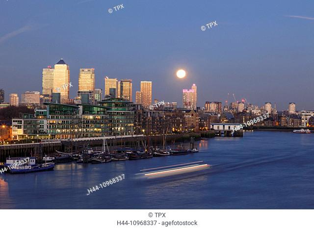 England, Europe, London, Docklands, Canary Wharf and River Thames at Dusk