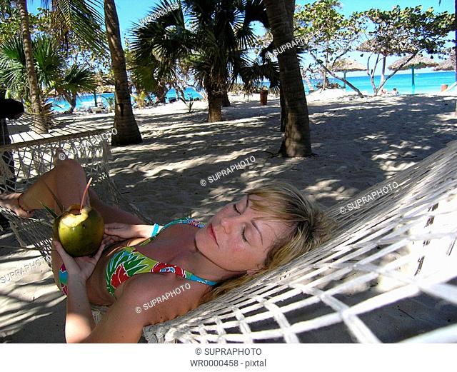 Woman hammock relaxing