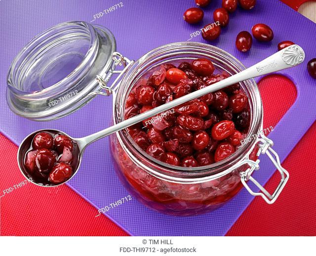 Cranberry shallot chutney in a kilner jar