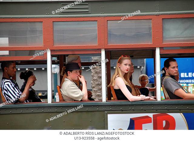 People traveling in a streetcar, Saint Charles Line, French Quarter, New Orleans, Louisiana, USA