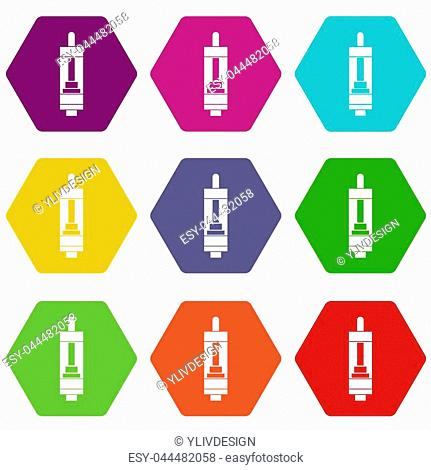 Clearomizer for cigarette icon set many color hexahedron isolated on white illustration