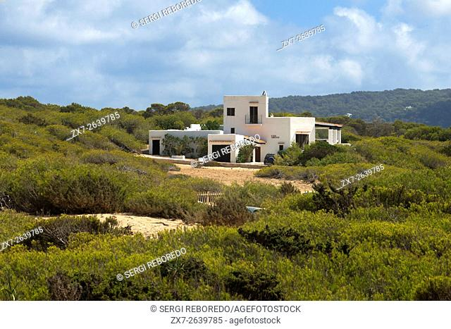 Typical white house of Formentera. Migjorn beach, Formentera island, Balears Islands, Spain