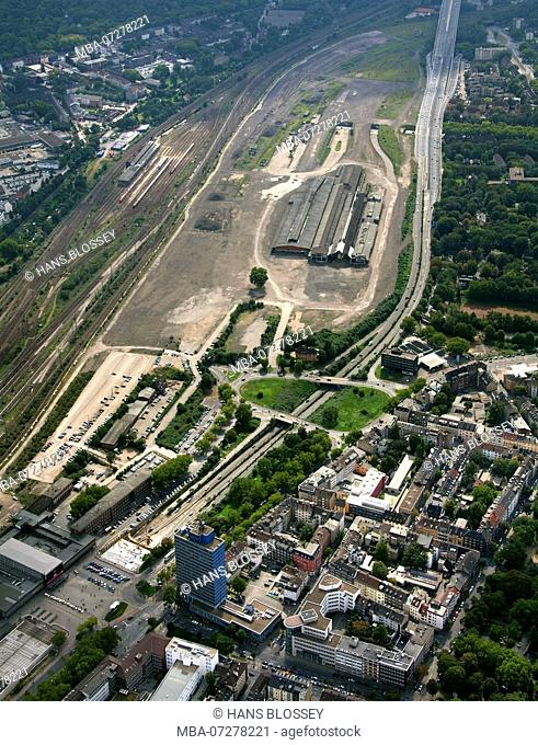 Aerial view, Love Parade disaster, disaster, responsibility, Love Parade underpass was unblocked, freight station Duisburg, Duisburg, Ruhr area