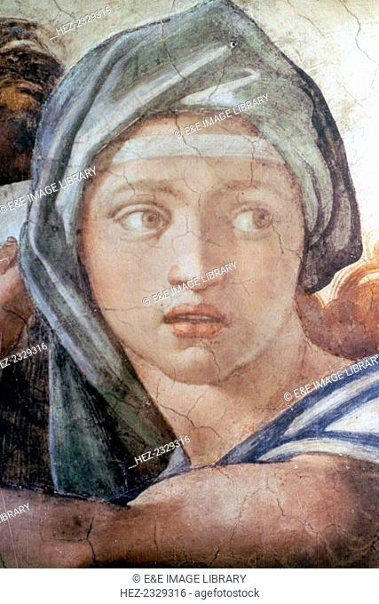 The Delphic Sibyl (detail from the Sistine Chapel Ceiling), the Vatican, Rome, Italy. The Sistine Chapel was built between 1473 and 1484 for Pope Sixtus IV