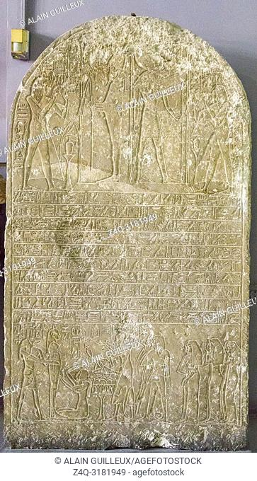 Egypt, Cairo, Egyptian Museum, stele of Ipuia and Nefertari, Saqqara, Dynasty 18, north side of Teti pyramid. Hymn to Ra