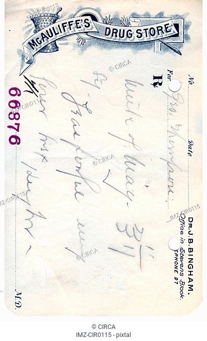 A vintage prescription from a drug store