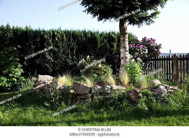 Idyllic garden with herb bed, Hochsauerland, Sauerland, North Rhine-Westphalia, Germany