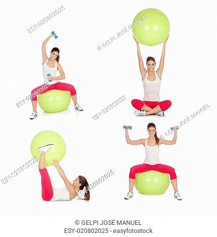 Sequence beautiful woman practicing sport sitting on a pilates ball