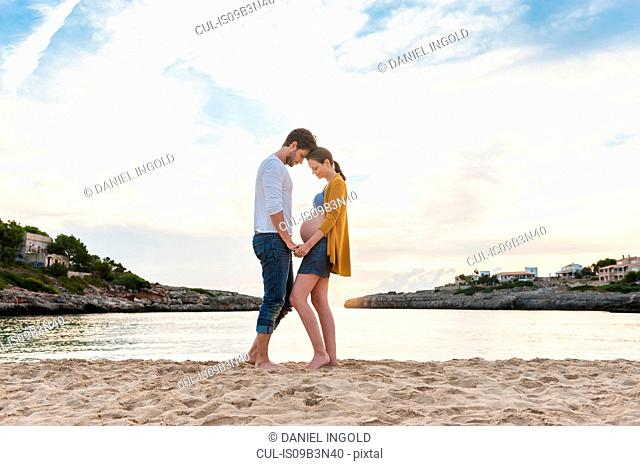Pregnant woman and man standing face to face on beach, holding hands