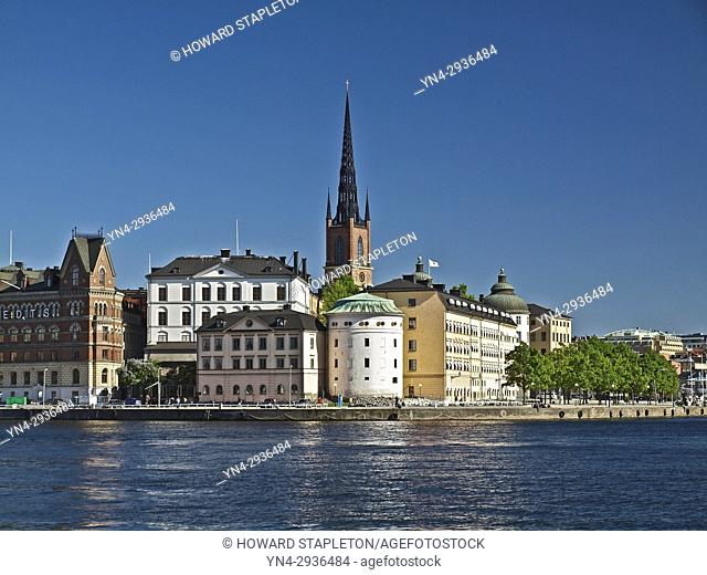 Riddarholmen is a small island and makes up part of the Old Town (Gamla Stan) section of Stockholm, Sweden. Clock tower and steeple of the Riddarholmen church...