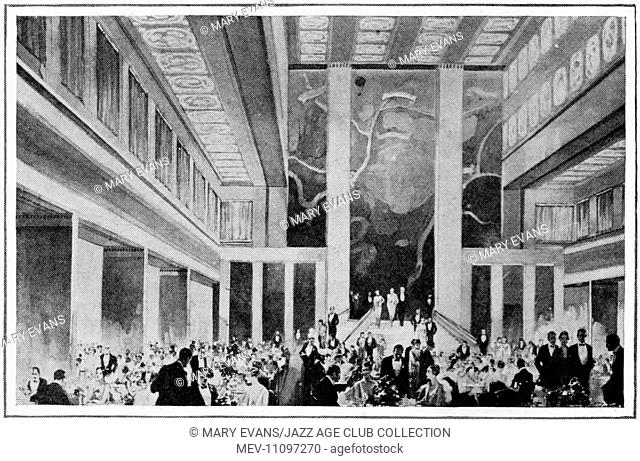 Sketch of the interior of the Ile de France (1927)- the giant new liner of the French line - showing the grand dining saloon