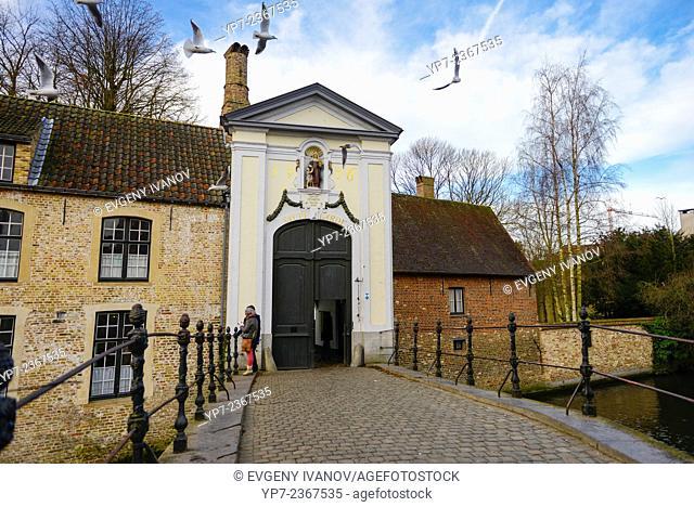 Begijnhof Bridge And Door In Brugge, Belgium