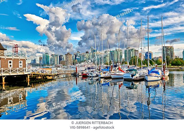 Skyline and yacht harbour of Vancouver seen from Stanley Park, British Columbia, Canada - Vancouver, British Columbia, Canada, 26/09/2014